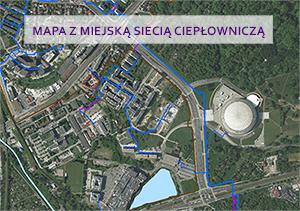 Mapa z miejską siecią ciepłowiniczą
